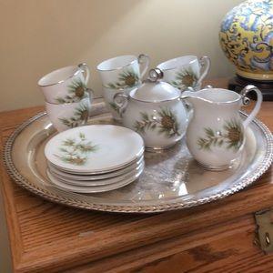 13 Pcs Seyei Porcelain China Coffee Set. Pine Cone